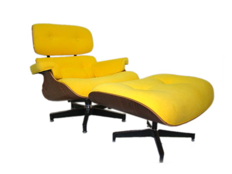 Poltrona Charles Eames Amarela com Puff